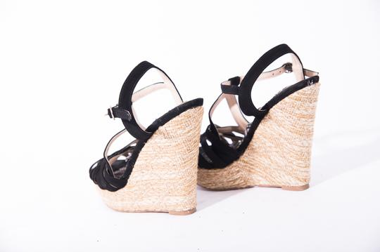 DEB Open Toe Ankle Strap High Heel Black Wedges