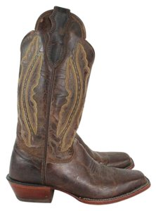 Justin Boots Tan Distressed Vintage Western Boots