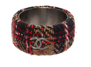 Chanel Chanel Navy Blue Multicolor Tweed Wide Bangle Bracelet 813A (Size S)