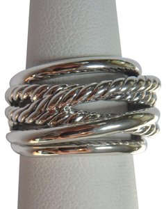 David Yurman Sterling Silver Crossover Narrow Ring size 9
