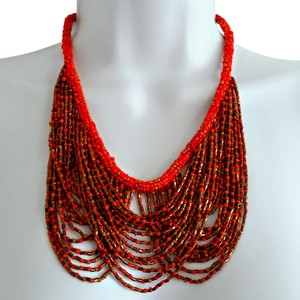 Other Beaded Gold and Coral Orange Bib Statement Necklace