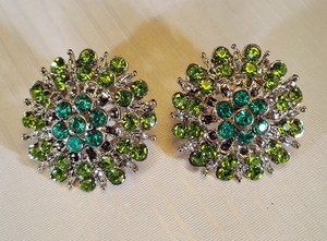 Wedding Silver Plated Green Blue Lime Rhinestone Stud Earrings