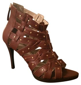Folic by Christoph Leather Tan Caged Ankle Cognac Sandals