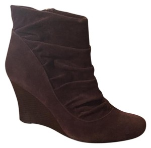 Bamboo Rouching Ankle Wedge Brown Boots