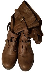 Madden Girl Buckles Strappy Midcalf Slouch Brown Boots