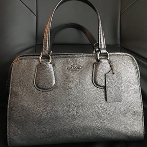 Coach Leather Satchel in Gun metal