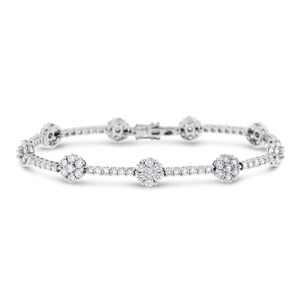 Other 4.60 Ct. Natural Superfine Diamond Flower Bracelet In Solid 18k White