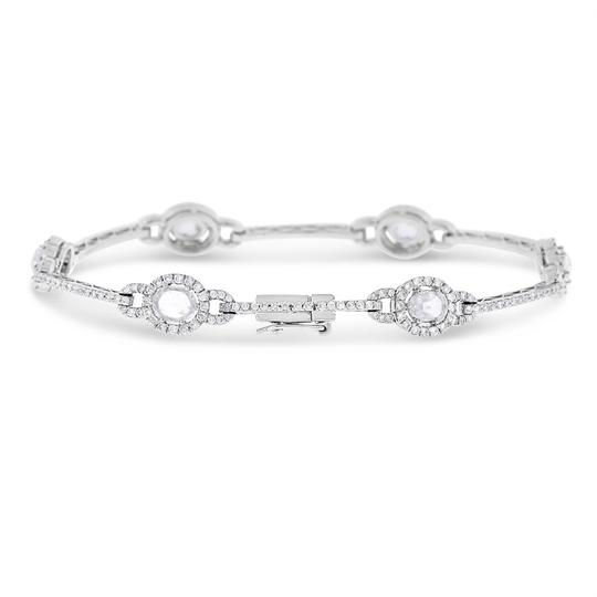 Other 3.00 Ct. Natural Fine Diamond Rose Cut Halo Bracelet In Solid Platinum