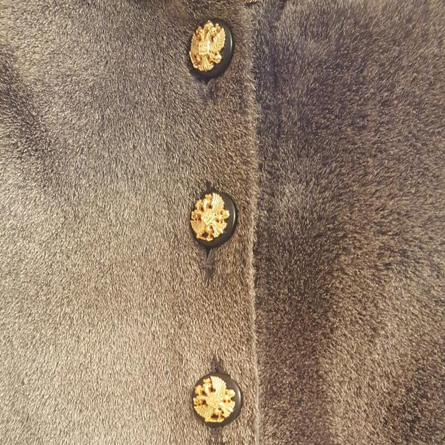Chanel Black/Gold Buttons Cc Logo Buttons 2 Side Pockets Shearling & Lambskin Gold Lame' Piping Fur Coat