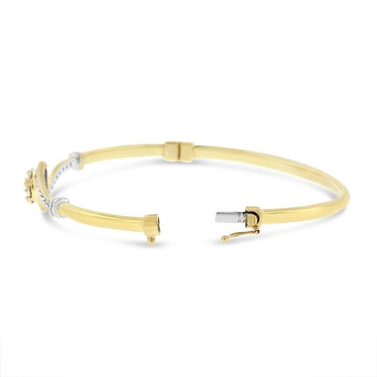 Other 0.25 Ct. Natural Diamond Flower Swirl Bangle In Solid 10k Yellow Gold