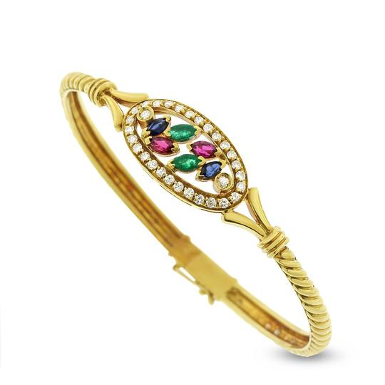 Other 1.58 Ct. Natural Diamond & Multi Color Gemstone Bangle Solid 18k