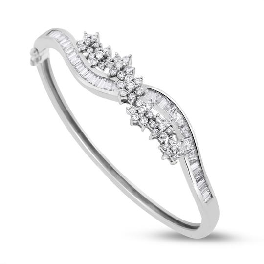 Other 3.19 Ct. Natural Diamond Flower Swirl Bangle In Solid 14k White Gold