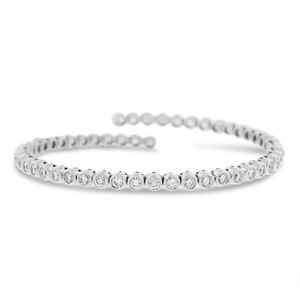 Other 5 Ct. Natural Diamond Bezel Set Tennis Bangle Stretch In Solid 18k
