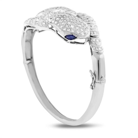 Other 4.56 Ct. Natural Diamond Double Snake Bangle Sapphire Eyes Solid 18k