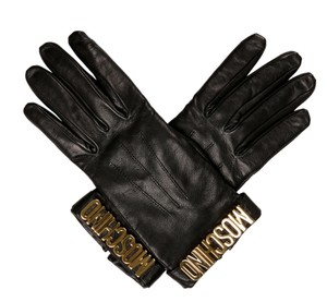 Moschino Black leather Moschino gold tone letter charms gloves 8