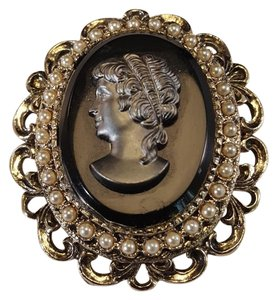 Other Vintage Cameo Brooch Pendant Gold Plated Black