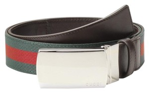 Gucci NEW Authentic GUCCI Brown Belt w/grg Web Metal Buckle 105/42 256280