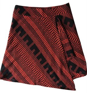 Other Unsymmetrical Kint Uneven Length Abstract Print Mini Skirt Red and Black