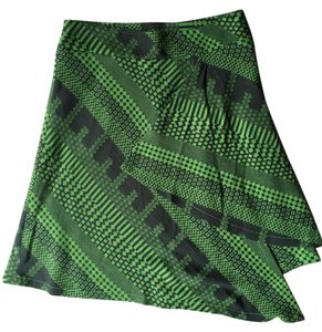 Other Unsymmetrical Kint Length Abstract Print Mini Skirt Green and Dark Gray