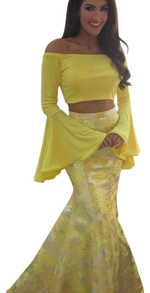 02f5875ea3c Jovani Yellow 48922 Two Piece Off Shoulder Mermaid Prom Long Formal ...
