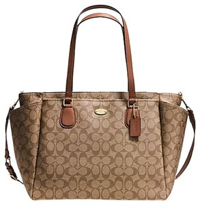 Coach LIGHT GOLD/KHAKI/SADDLE Diaper Bag
