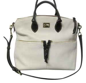 Dooney & Bourke Cell Phone Pocket Satchel in Leather Pebble off White with Black handles and strap