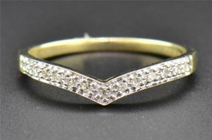 Diamond Wedding Band Curved 10k Yellow Gold Round Cut Ladies Prong Ring 0.09 Ct