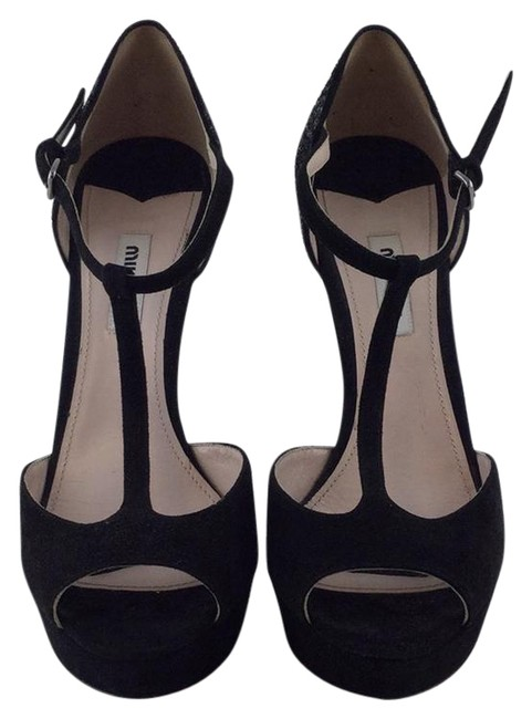 Miu Miu Black Suede T-strap Open Toe Platforms Pumps Size US 8.5 Regular (M, B) Image 1