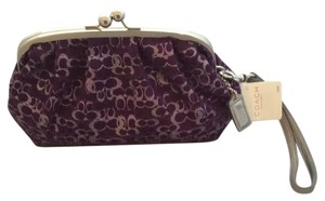 Coach Wristlet in Silver- Plum