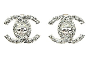 Chanel Chanel Vintage Silver CC Crystal Turnlock Clip On Earrings