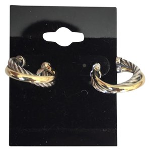 David Yurman Two Tone Cable Crossover Small Hoop Earrings