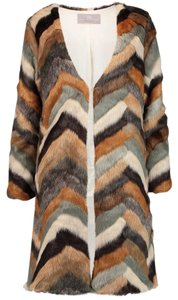 Tart Collections Faux Fur Chevron Fur Coat