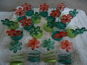 Green Teal Orange 20 Gem Flower Tea Light Holders Reception Decoration