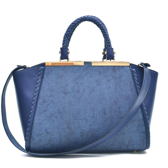 Preload https://img-static.tradesy.com/item/20730639/two-tone-winged-navy-blue-faux-leather-satchel-0-0-540-540.jpg
