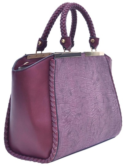 Preload https://img-static.tradesy.com/item/20730672/two-tone-winged-wine-faux-leather-satchel-0-1-540-540.jpg