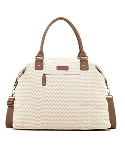 Tommy Bahama Travel Duffel Satchel Luggage Soft Tan and Cream Chevron Pattern Travel Bag