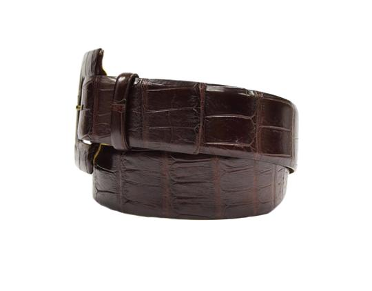 Tardini Tardini Rich Brown Genuine Alligator Wide Belt Sz 36 40095AT