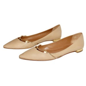 Aquazzura Leather Gold Hardware Pointed Toe Classic Chain Beige Flats