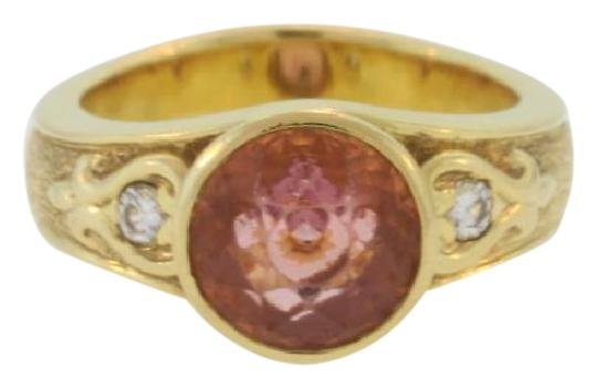 Preload https://img-static.tradesy.com/item/20730845/pink-round-cut-tourmaline-and-diamond-sand-blasted-18k-gold-ring-0-1-540-540.jpg