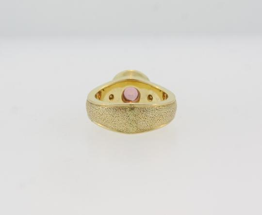 Other Round Cut Pink Tourmaline And Diamond Ring- Sand Blasted 18k Gold