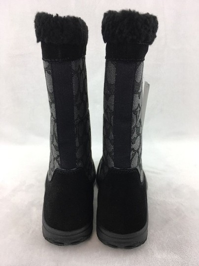 Coach Suede Leather Faux Shearling Cloth Black Boots