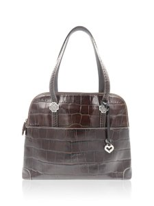 Brighton Croc Embossed Satchel in Brown