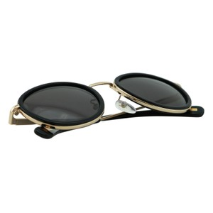 Lanvin NEW Lanvin SLN064 Round Black Gold Metal Trim Polarized Sunglasses