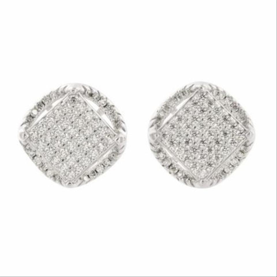 Silver Mens Womens Sterling Cz Stud Square Round Block Earrings