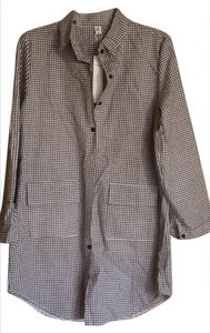 Chinese designer with a black cat symbol Button Down Shirt Black and white small checks.
