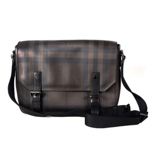Burberry Plaid Classic Pvc Leather Unisex Brown Messenger Bag