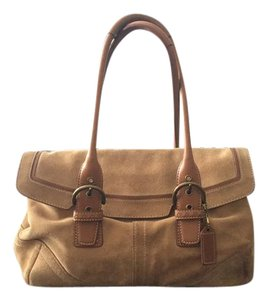 Coach Suede Leather Logo Shoulder Bag