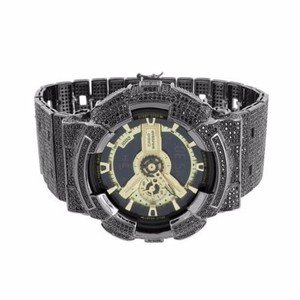 G-Shock Mens Black Full Iced Out Gold Tone G Shock Ga110 Cz Custom Watch