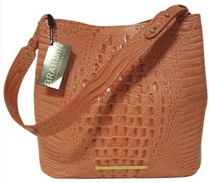 Brahmin Burlwood Dusty Pink Leather Organization Shoulder Bag