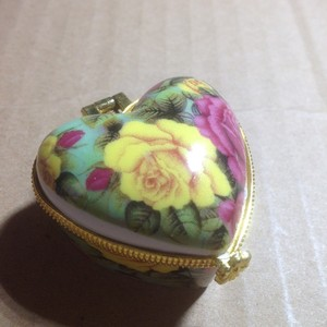 Hand Painted Heart Porcelain Jewelry Ring Box Free Shipping